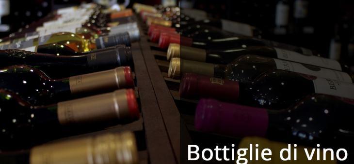 Le bottiglie di vino, grandezza e colore