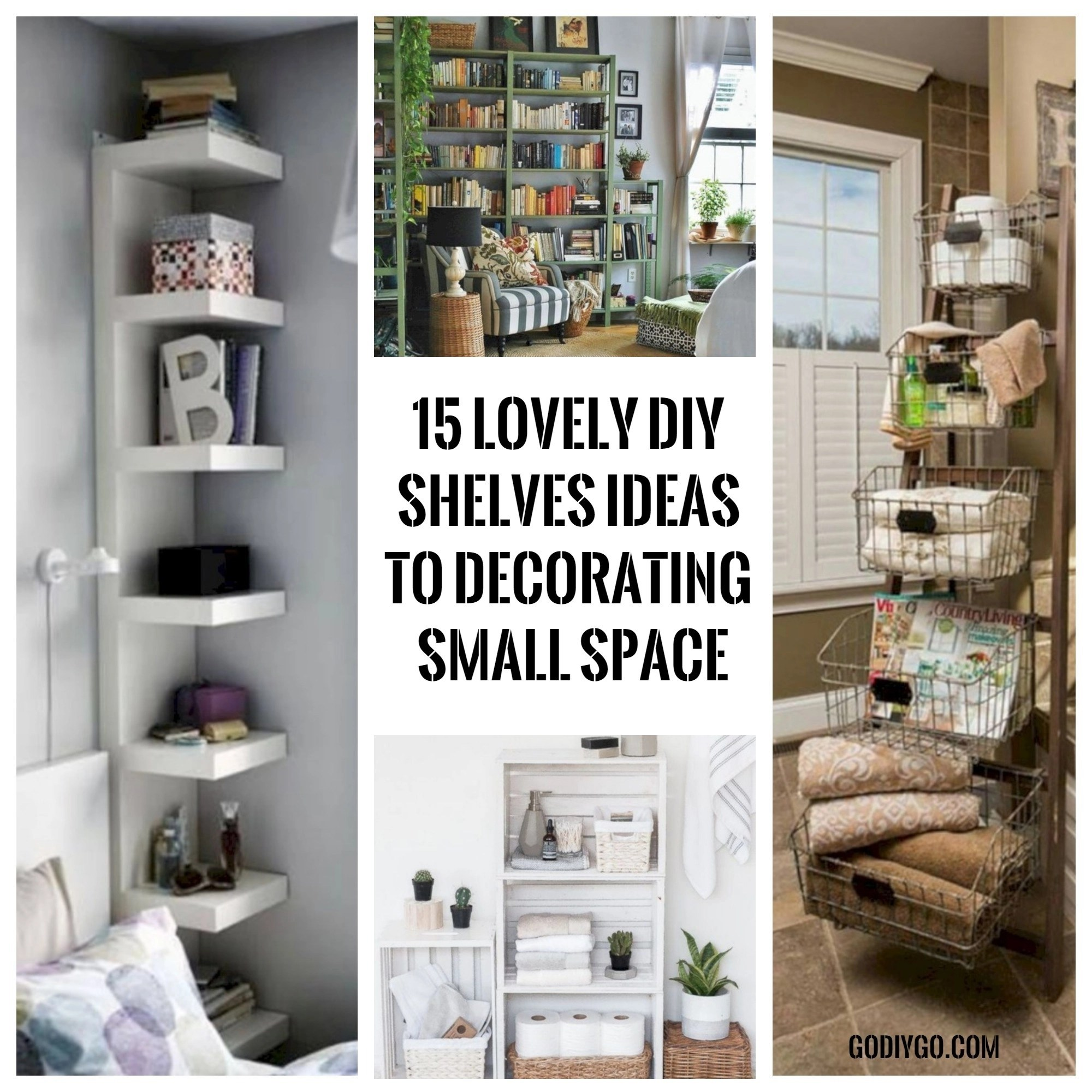 15 lovely diy shelves ideas to decorating small space godiygo com rh godiygo com Small Desk with Shelves Small Desk with Shelves