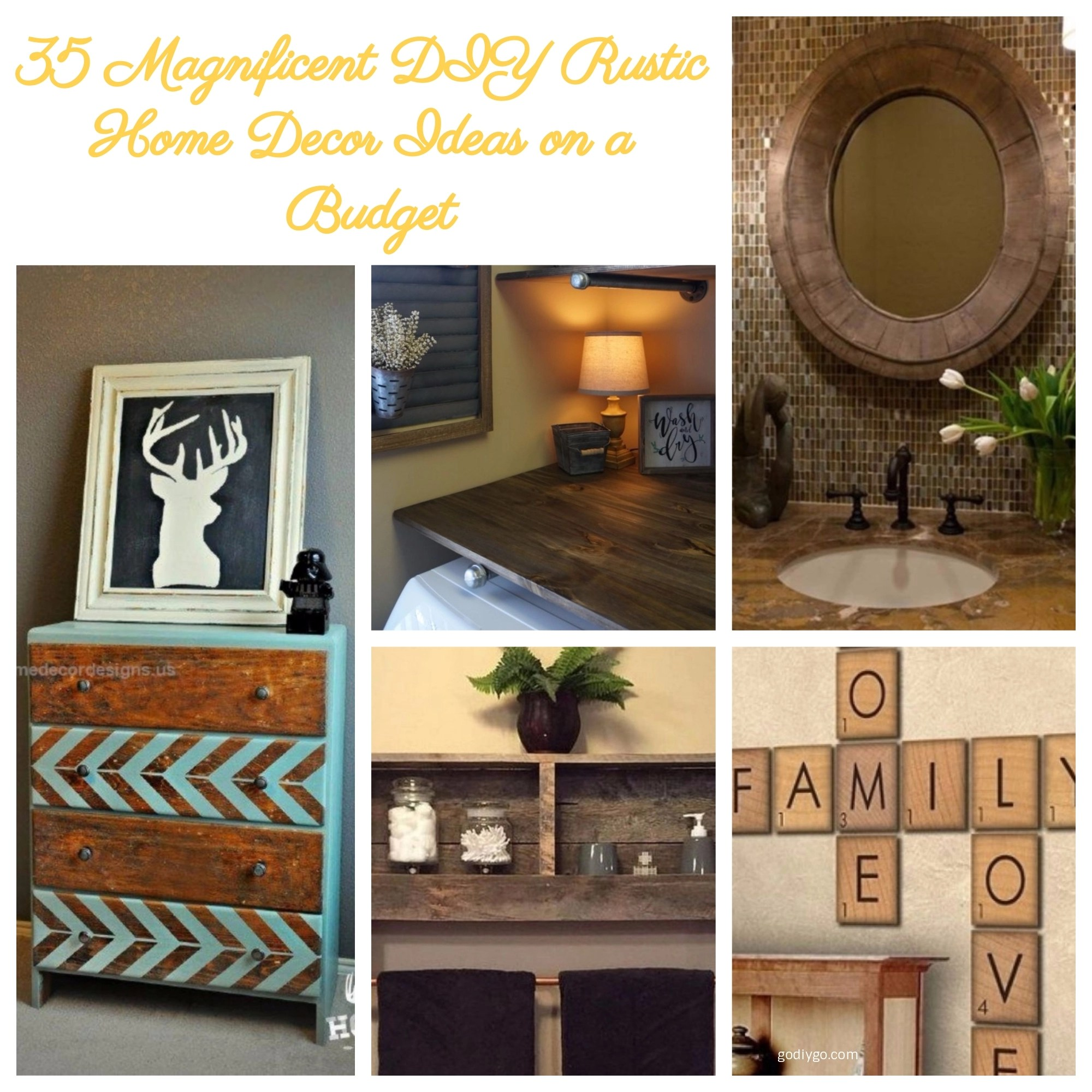 35 magnificent diy rustic home decor ideas on a budget for Cheap diy home decor