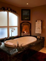 Astonishing and cozy bathrooms design ideas with fireplace 03