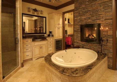 Astonishing and cozy bathrooms design ideas with fireplace 07