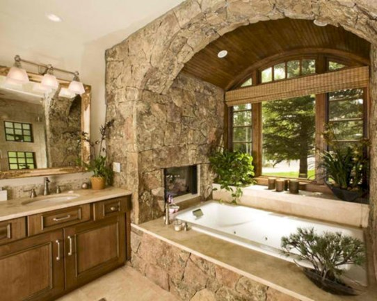 Astonishing and cozy bathrooms design ideas with fireplace 17