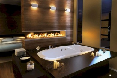 Astonishing and cozy bathrooms design ideas with fireplace 19