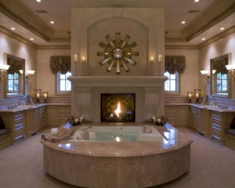 Astonishing and cozy bathrooms design ideas with fireplace 29
