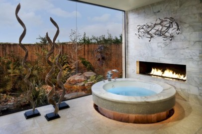 Astonishing and cozy bathrooms design ideas with fireplace 33