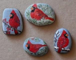 Diy cristmas painted rock design 07