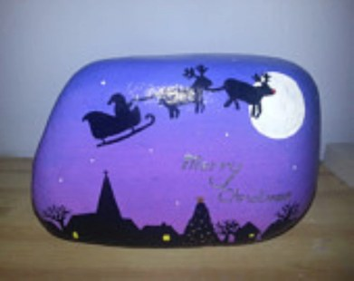 Diy cristmas painted rock design 18