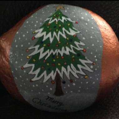 Diy cristmas painted rock design 20