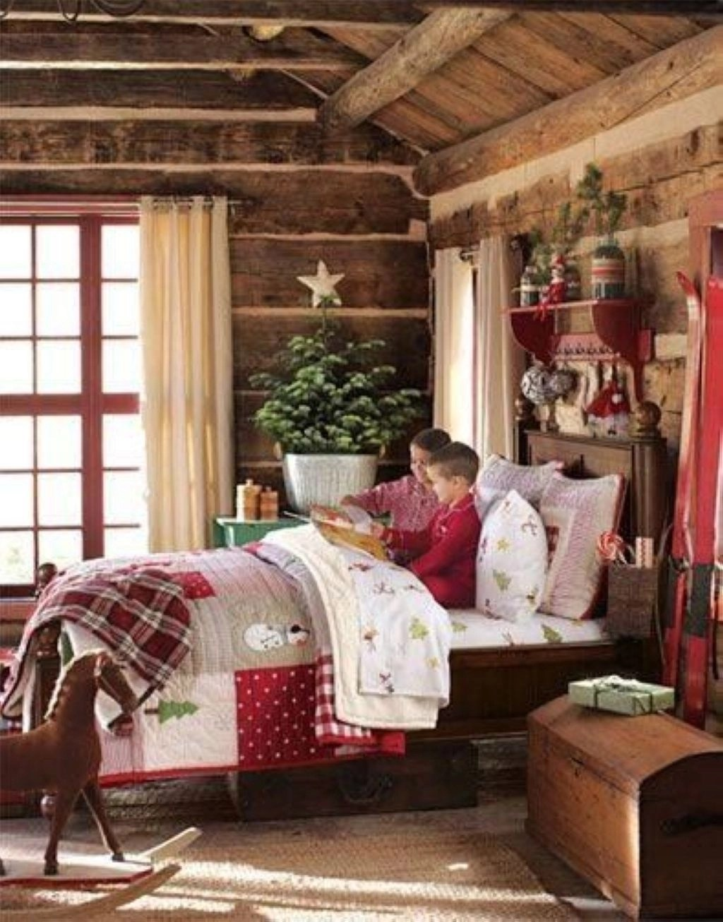 Reading christmas stories and waiting for santa in bedroom