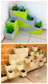 Ways to decorate your garden using cinder blocks 25