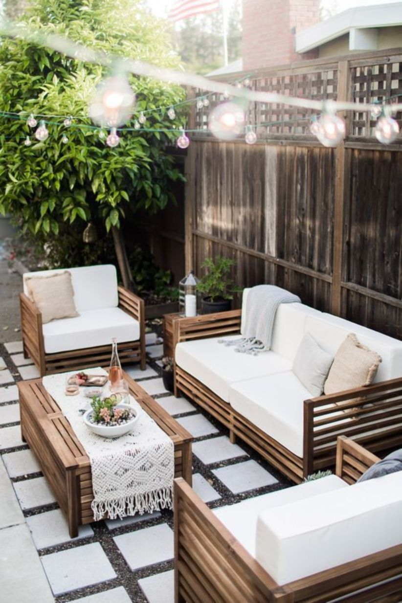 Back patio ideas with sofa and lamps decoration