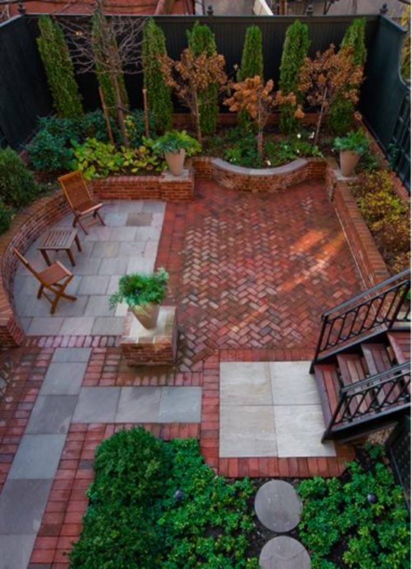 Back yard with iandscape design addition on garden with bench or seats