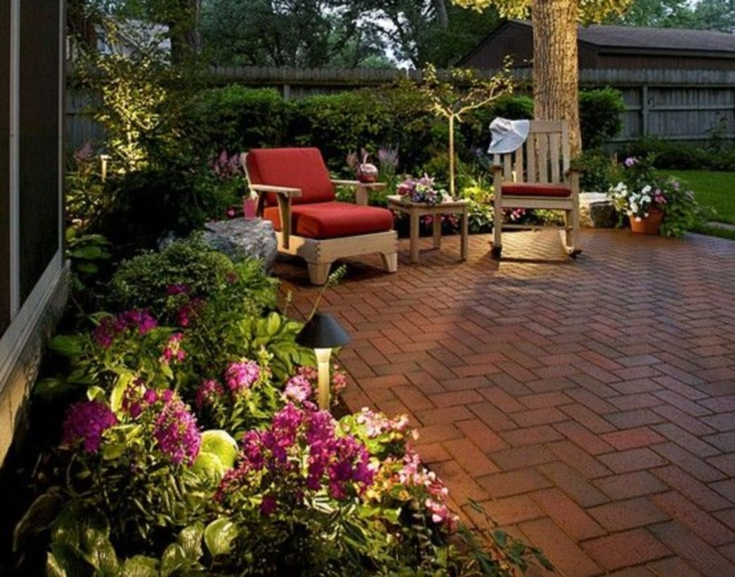 Backyard landscape designs with bench or seats and flower