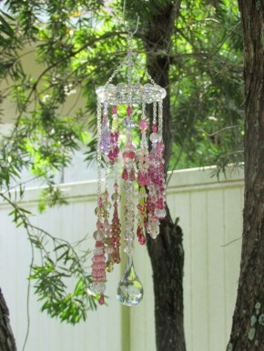 Beautiful beaded wind chime to add sparkle to the garden 07