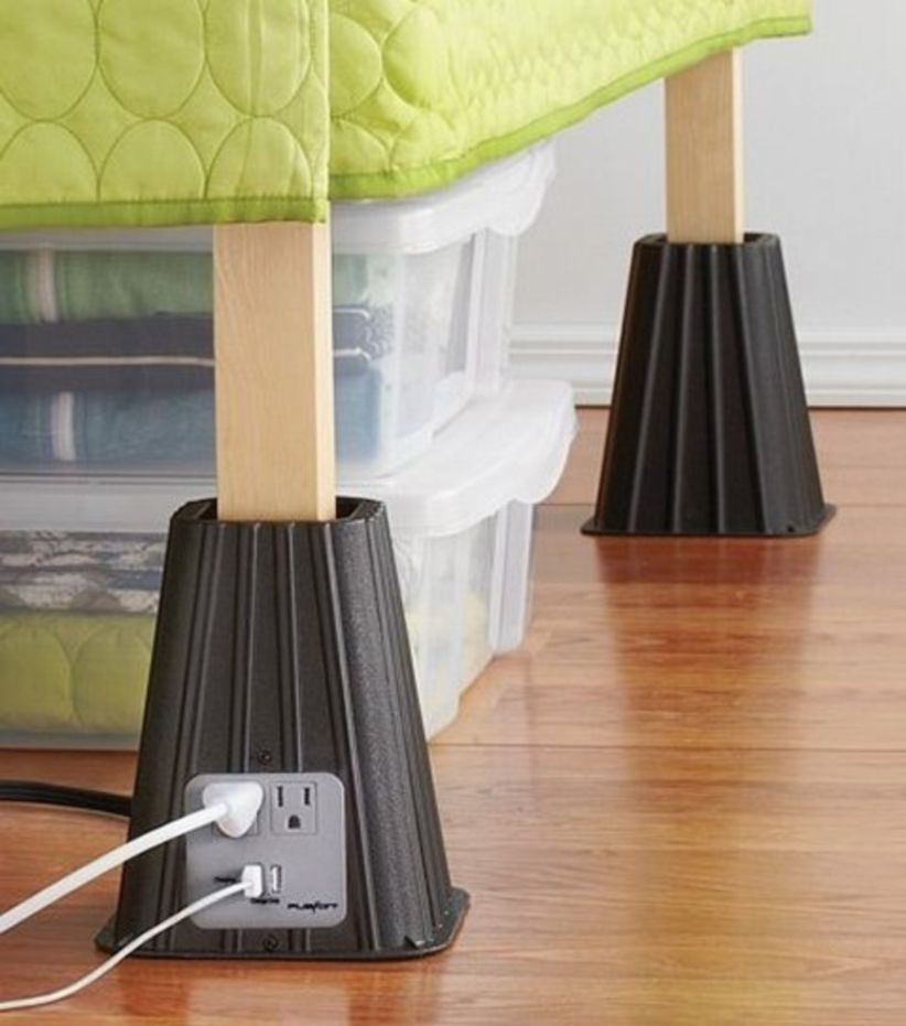 Bed risers bed risers with usb power strip