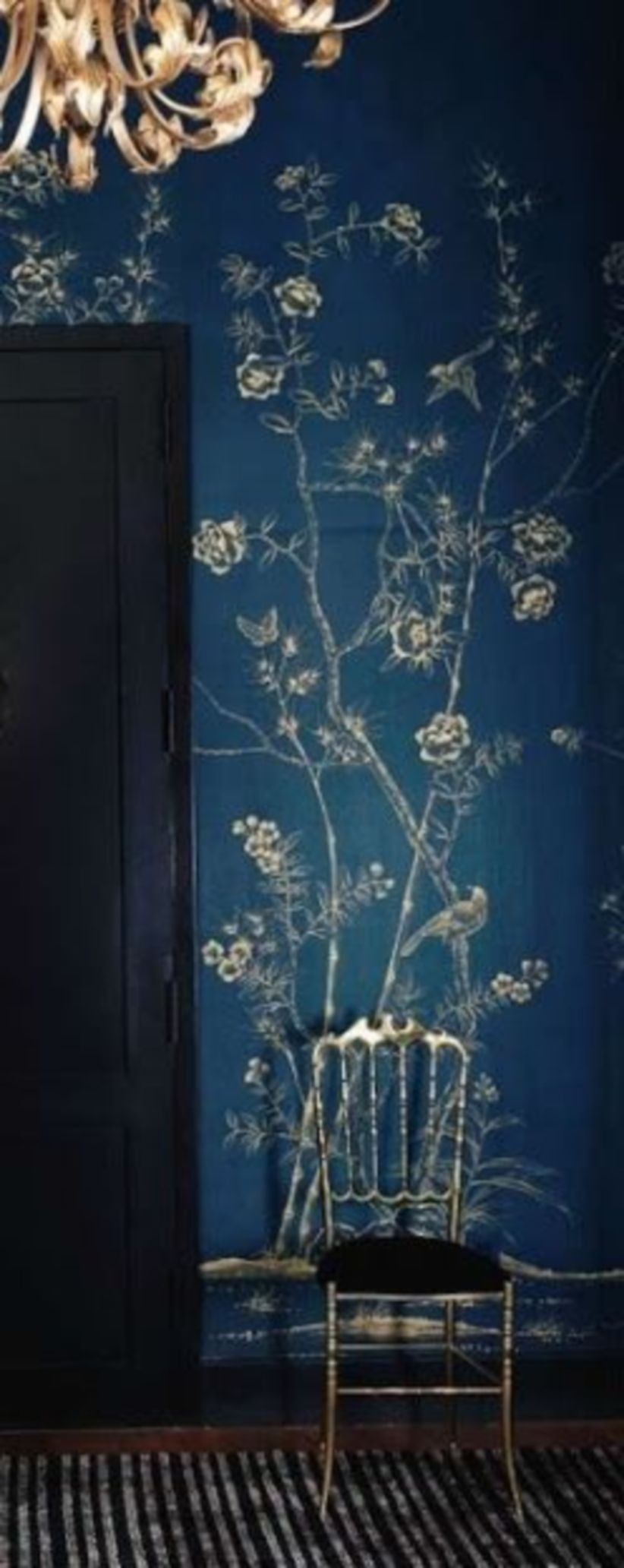 Blue de gournay and gracie wallpapered dining rooms