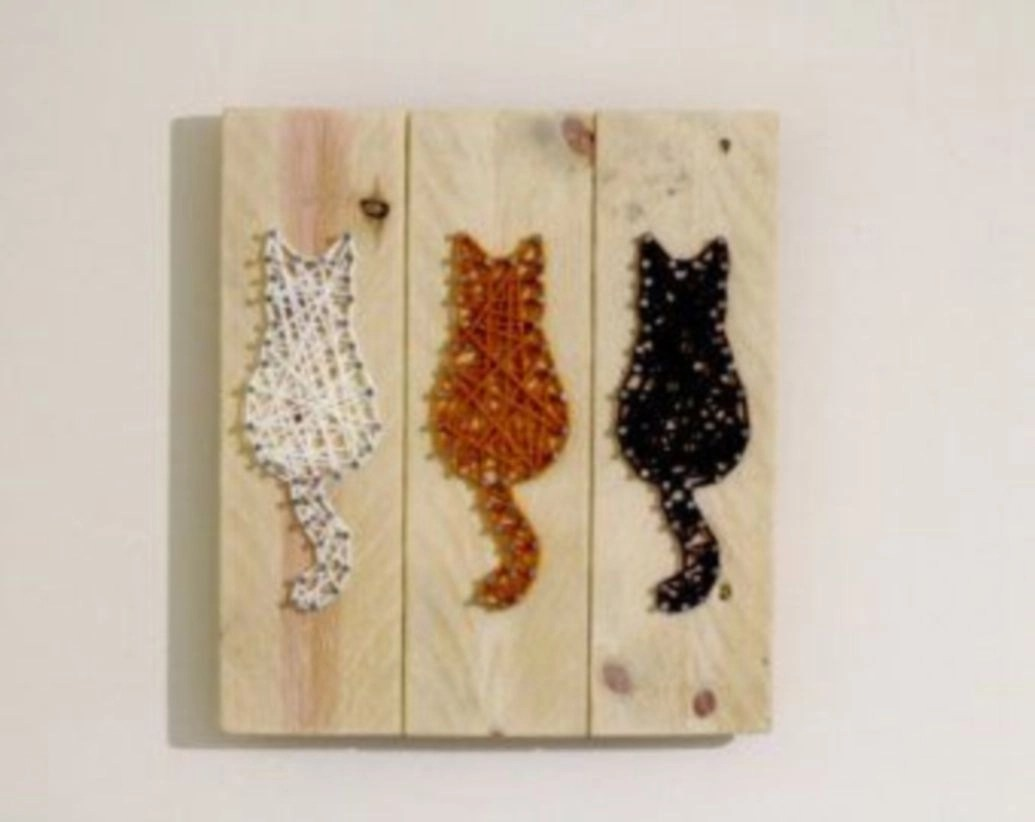 Cat wall hanging string art rustic reclaimed wooden