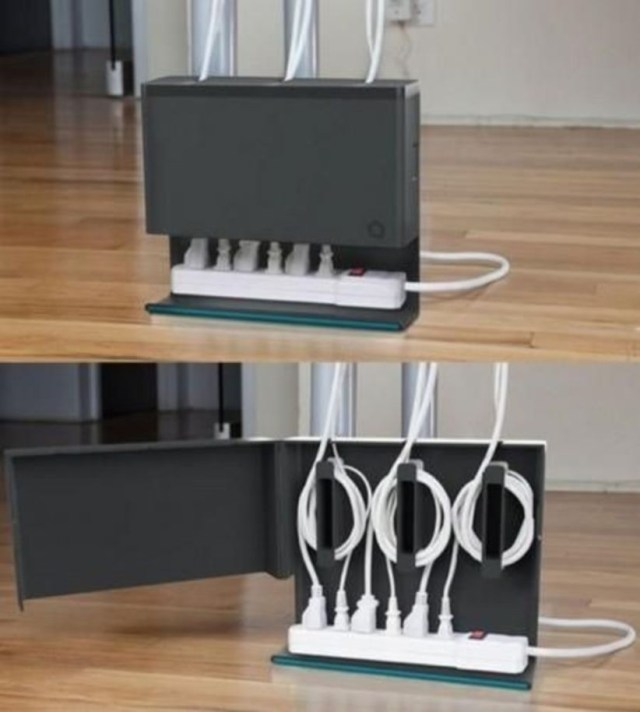Cool idea to organize the cables in the home office.