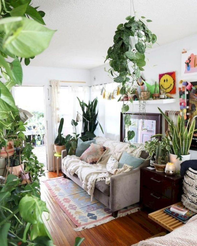 Cozy bohemian style indoor plant decoration ideas