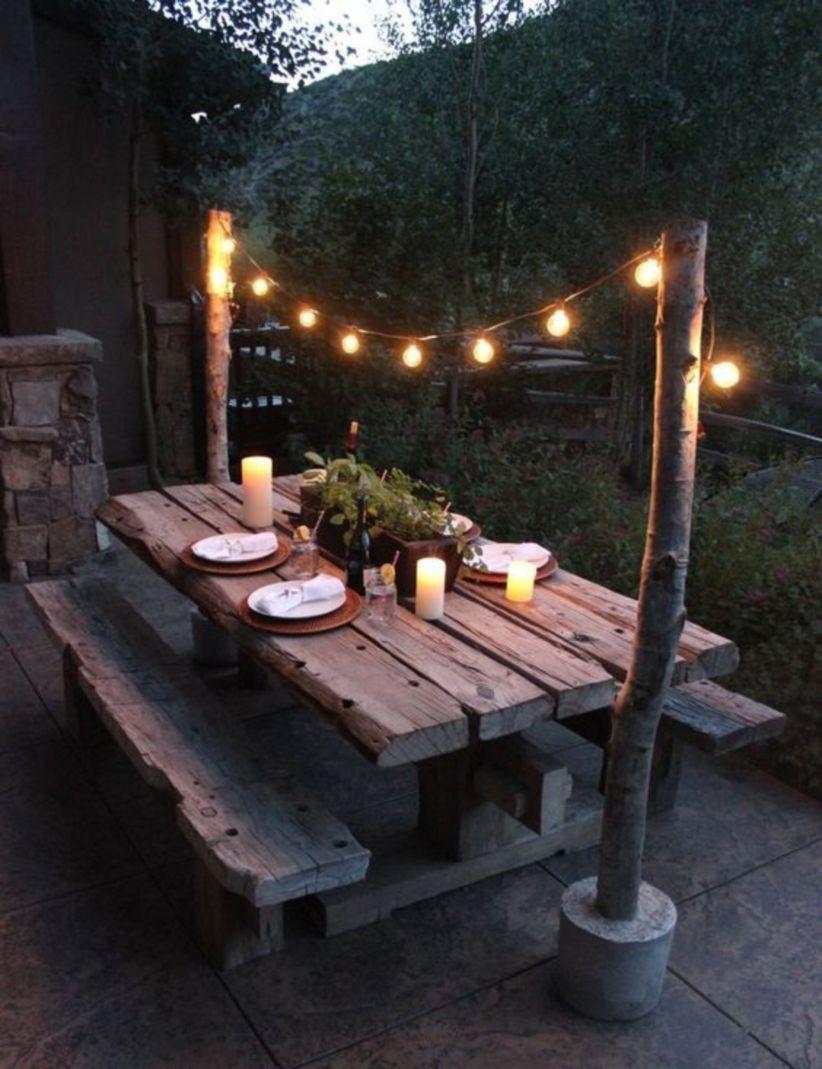 Diy outdoor dining room rustic decor ideas