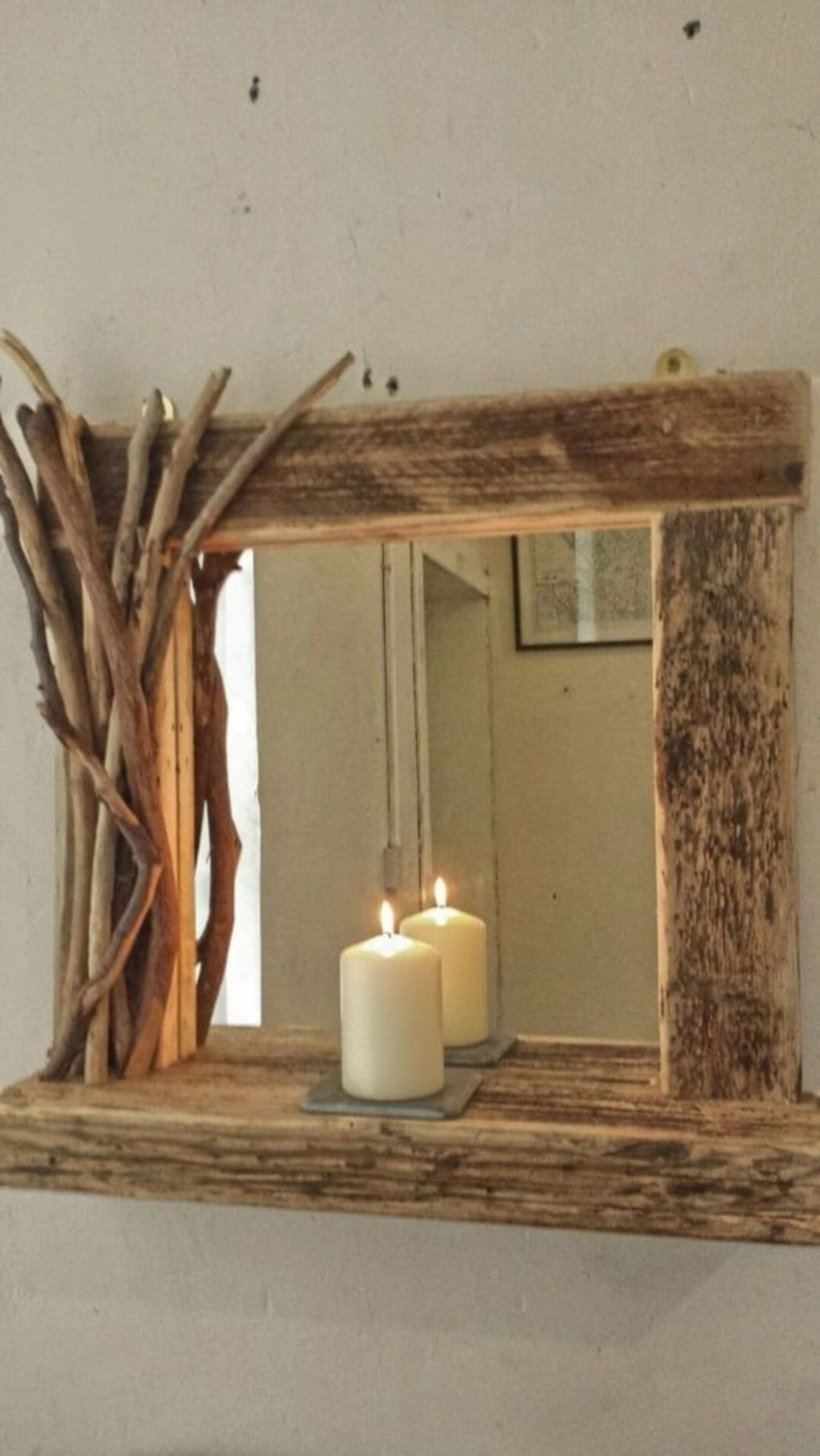 Diy rustic reclaimed driftwood farmhouse mirror with shelf and decorated frame