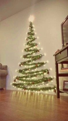 Diy wall christmas tree to save your space 06