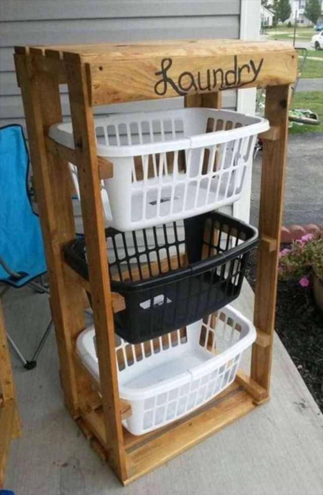 Diy wood pallet projects for laundry storage ideas
