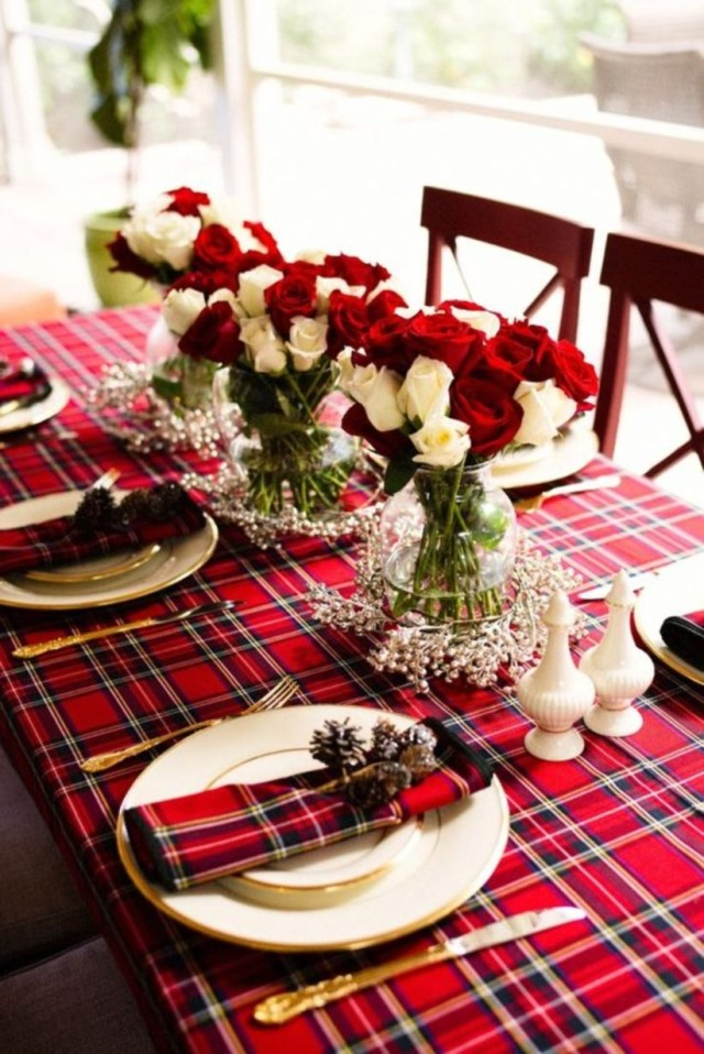 Holiday tablescape christmas with ornament flower
