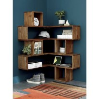 Ideas to decorate your corner space with unique corner shelf 06