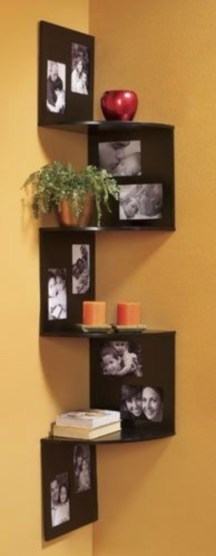 Ideas to decorate your corner space with unique corner shelf 23
