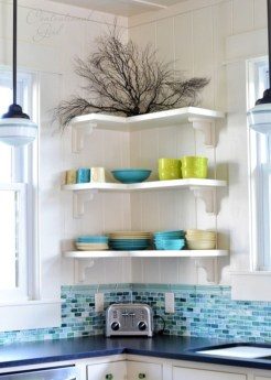 Ideas to decorate your corner space with unique corner shelf 41