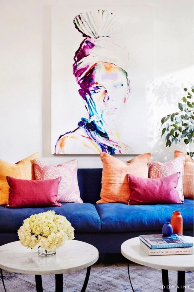 Lots of color, like the huge painting in wall living room