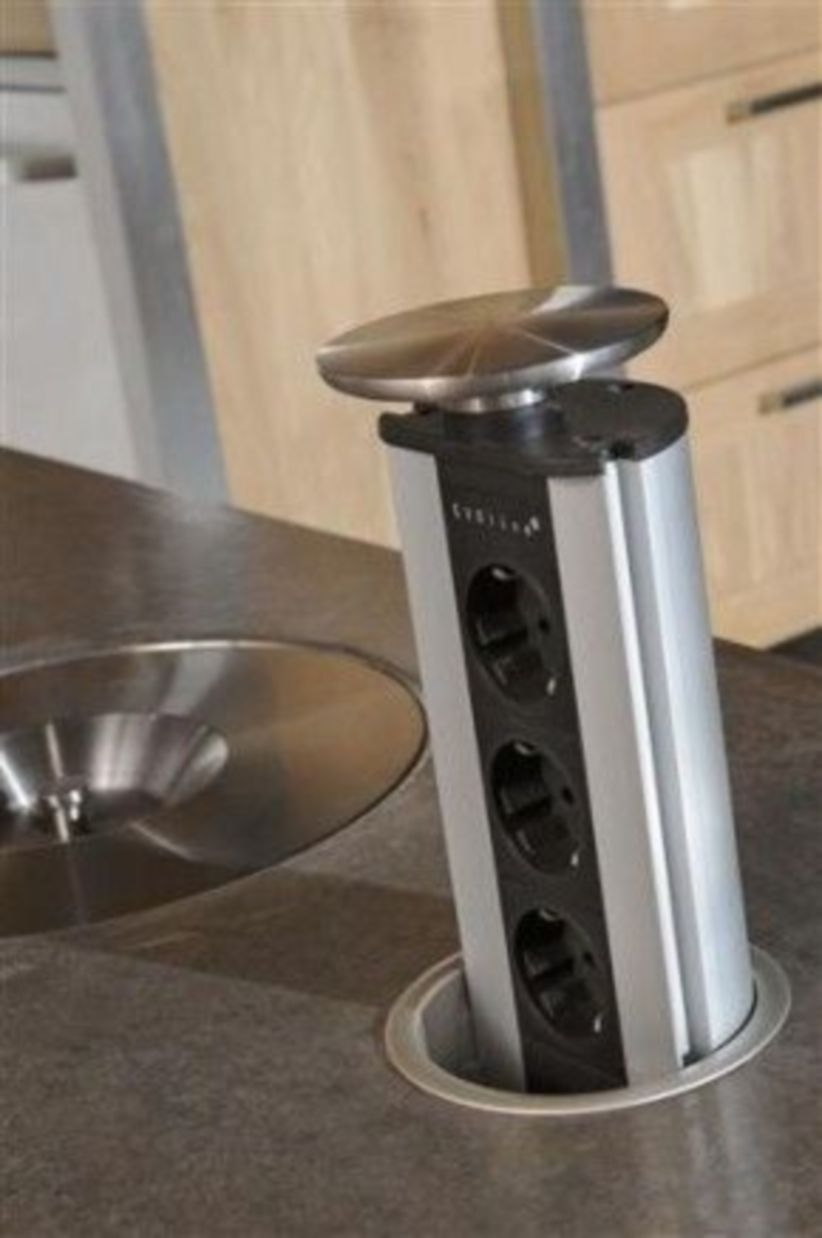 Pop-up outlets kitchen islands