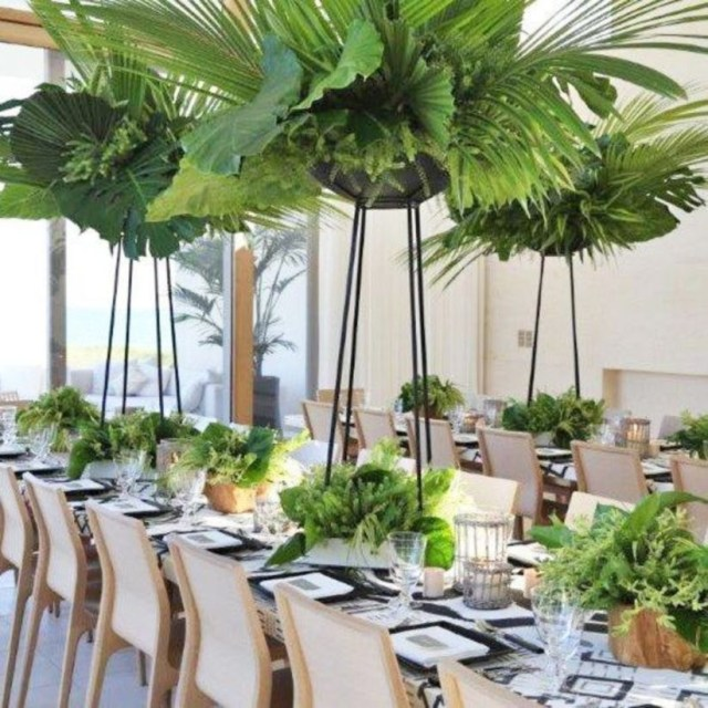 Use of wood pots with lush greens white linens and natural wood frame chairs gives the space a relaxed