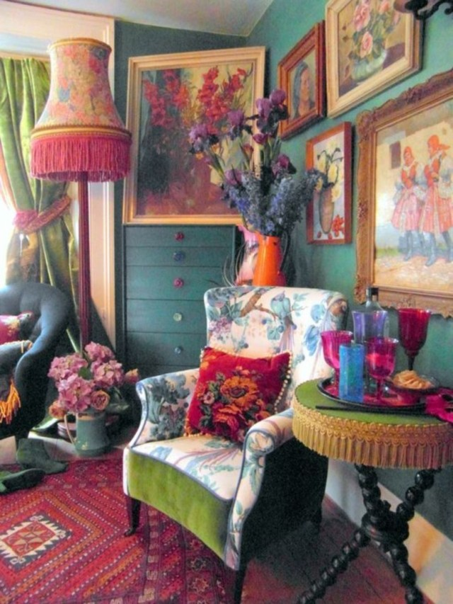Velvet eccentric-designed room, with layers of colour, pattern & texture thoughtfully put together