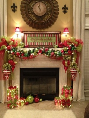 Ways to decorate fireplace for christmas 08