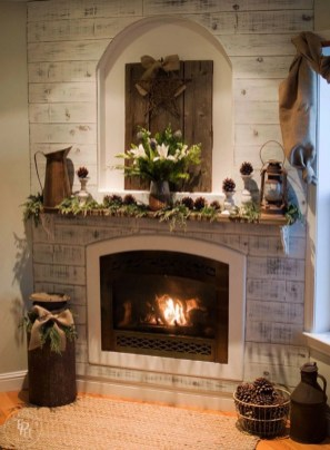 Ways to decorate fireplace for christmas 36