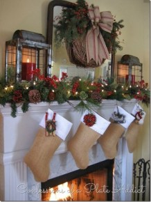 Ways to decorate fireplace for christmas 39