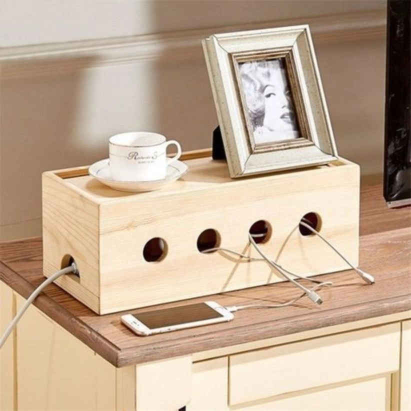 Wood cable organizer box for hide your electrical outlets