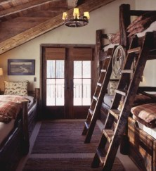Creative log cabin themed bedroom for kids 09