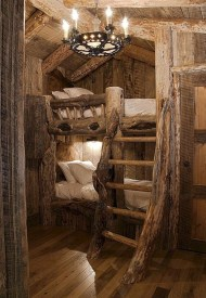 Creative log cabin themed bedroom for kids 12
