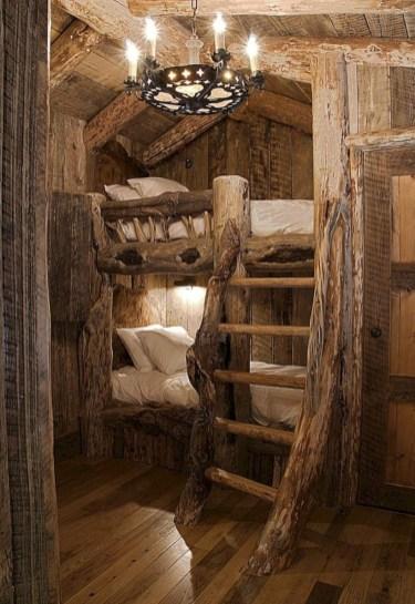 Creative log cabin themed bedroom for kids 12