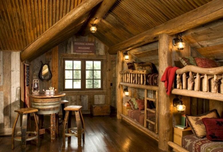 Creative log cabin themed bedroom for kids 18