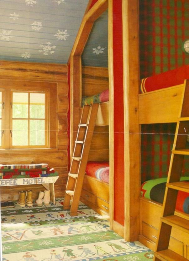 Creative log cabin themed bedroom for kids 23