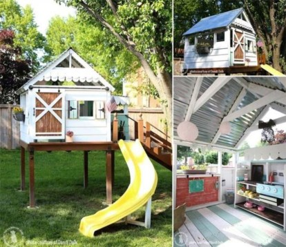 Fabulous backyard playhouse to delight your kids 25