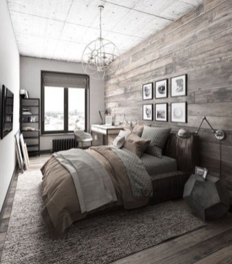 Vintage attic bedroom with wall of skylights02