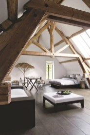 Vintage attic bedroom with wall of skylights12