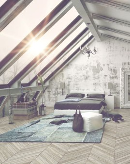 Vintage attic bedroom with wall of skylights32