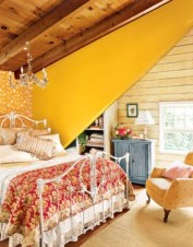 Vintage attic bedroom with wall of skylights34