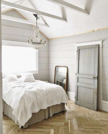 Vintage attic bedroom with wall of skylights56